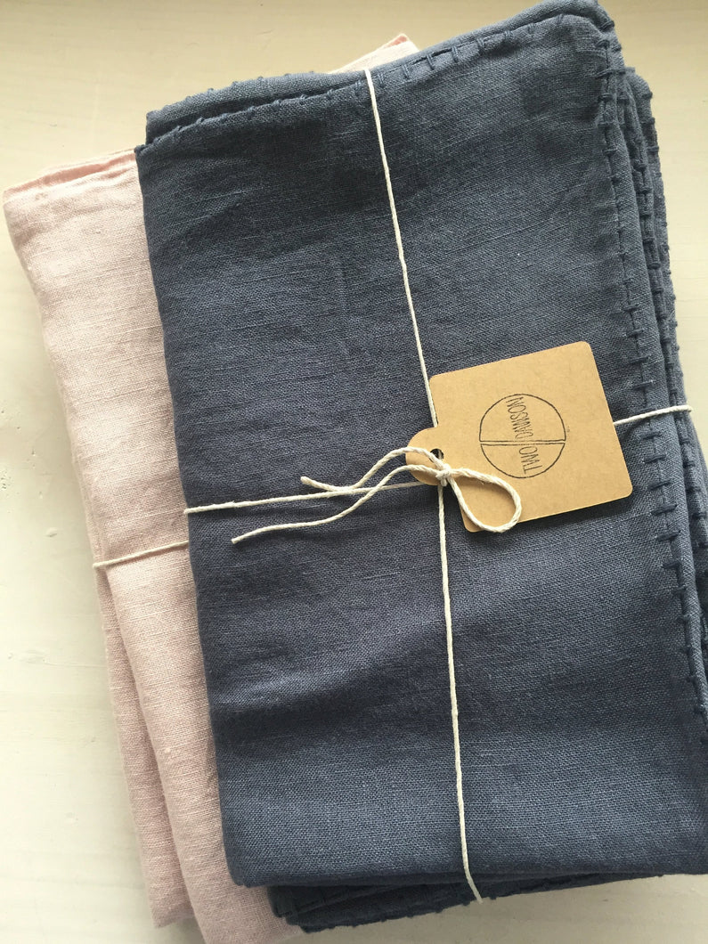 Linen Pillow Cases - Dark Grey with Stitching