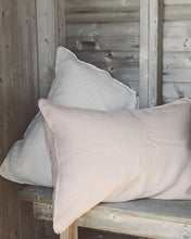 Linen Pillow Case - Blush with Piping
