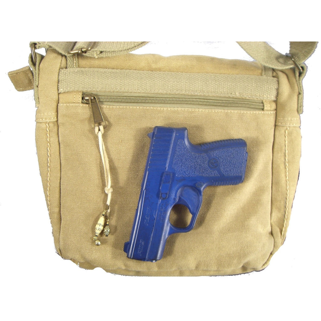 Camille Conceals Sand Washed Canvas Concealed Carry Bag Holster Placement