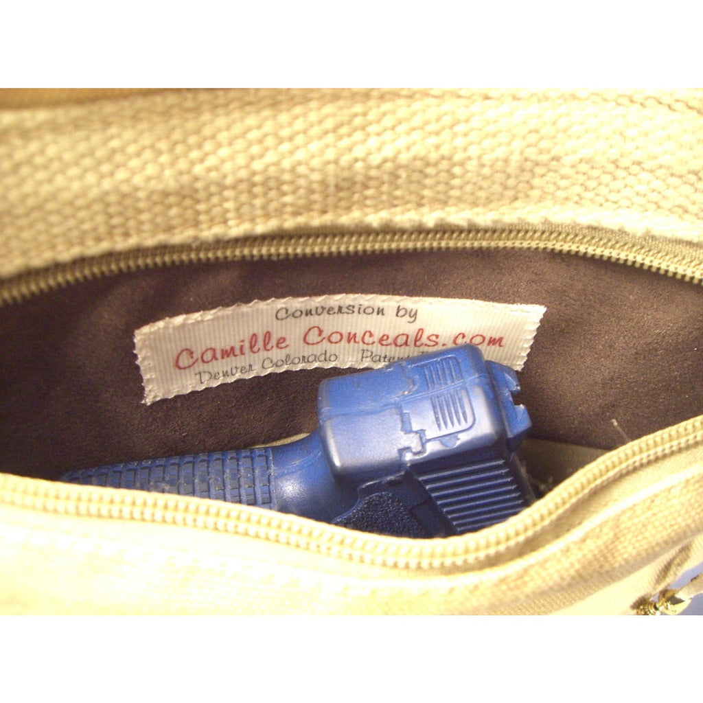 "Camille Conceals  ""Sand Washed"" -  Fun Casual Canvas Concealed Carry Shoulder Bag / Purse"