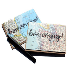 'bon voyage!' Vintage Map Greeting Card