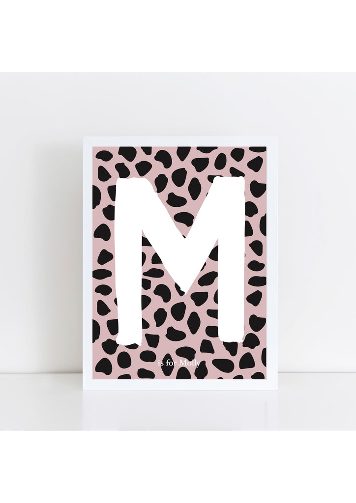Dalmatian Spot Initial - dusky pink and black