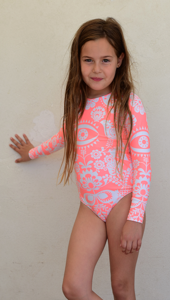 Ellie long sleeves swimwear shiny coral eye