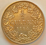Wilhelm I., 1816-1864. 1/2 Gulden 1864 - appleboutique-com