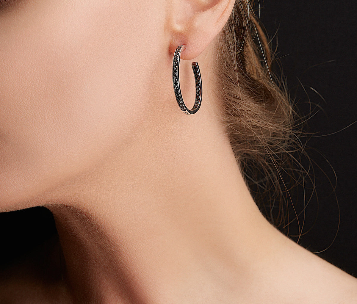Black Silver Hoop Earrings