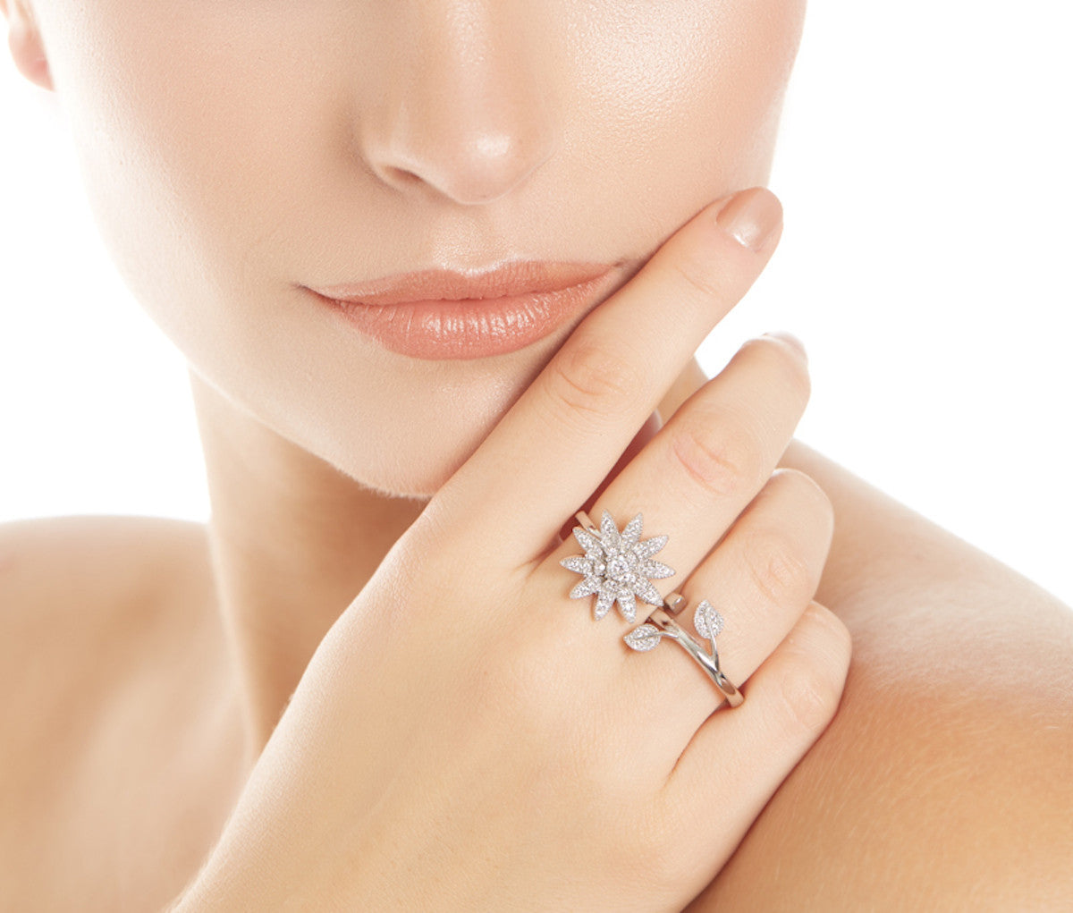 Silver Sizeable Double-Finger Statement Flower-Shaped Ring