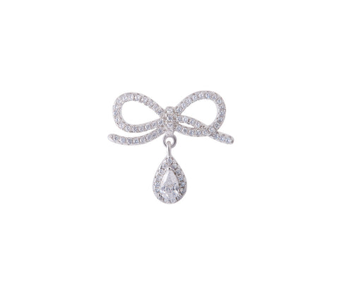 Safety Pin with Elegant Crystal Flower Brooch