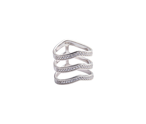 Silver Five-Band Ring