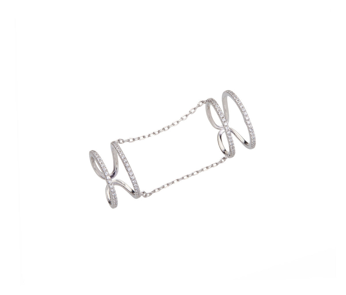 Four-Band Full Finger Ring, linked with 2 Elegant Silver Chains