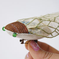 Soft Sculpture Cicada Brooch Blue and Green