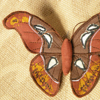 Textile Atlas Moth Brooch Brown Linen