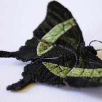 Emerald Swallowtail textile brooch entomology jewelry