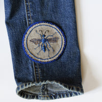 Blue Mud Dauber Hand Embroidered Sew-on Patch
