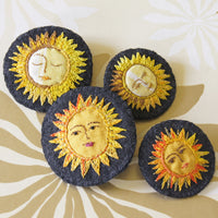 Large Yellow Copper Textile Sun Brooch Hand Embroidered Celestial