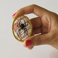 Stumpwork Black Widow Spider Brooch Pin Hand Embroidered Arachnida