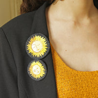 Textile Sun Brooch Pin Hand Embroidered Celestial Jewelry