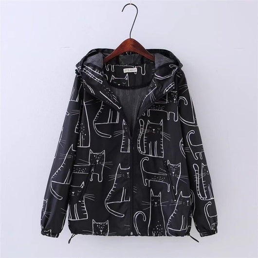 Autumn  Jacket With Cartoon Cats capuche sweat - Grr Cats