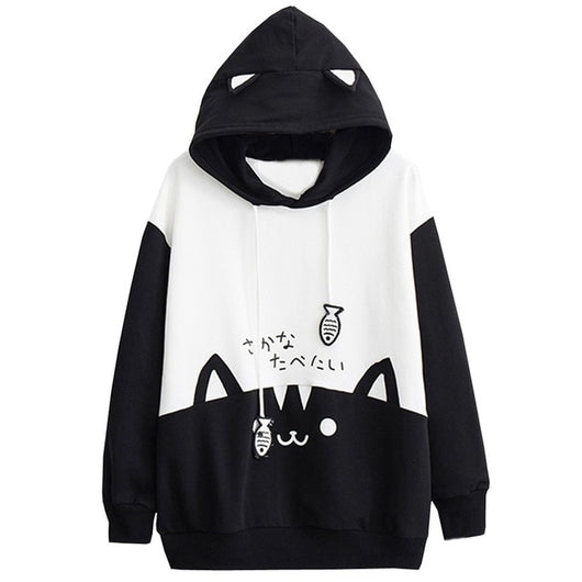 Womens Casual Long Sleeve Kitty Cat Print Pocket Thin Hoodie Blouse Top Shirt Hoodies - Grr Cats