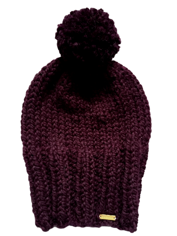 Slouchy Knit Pom Pom Hat -  Bolds