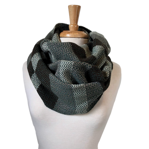 Chocolate, Cream, Taupe and Jade Woven Infinity Scarf