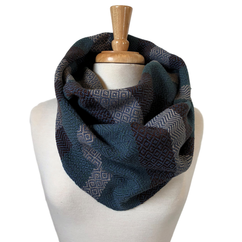 Jade, Chocolate, Taupe and Navy Woven Infinity Scarf