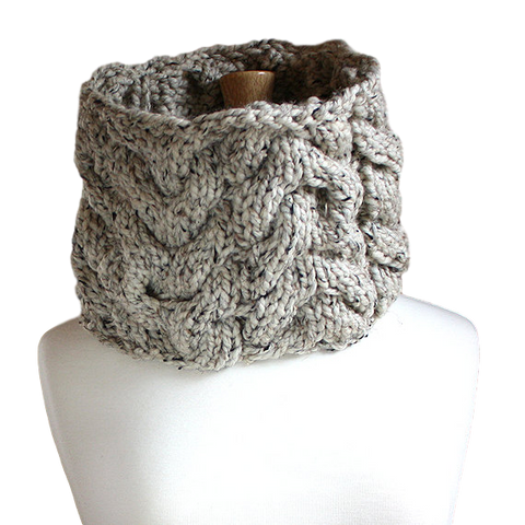 Oversized Cabled Cowl Scarf - Classic Neutrals