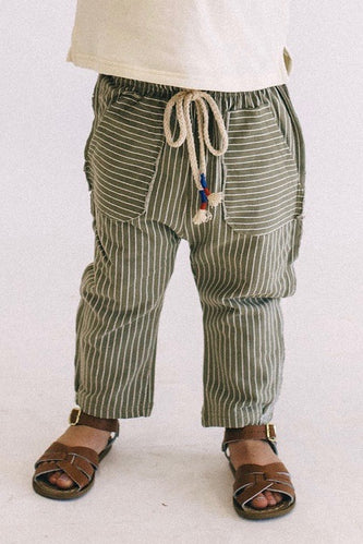 Cantwell Stripe Pants in Olive | ROOLEE Kids