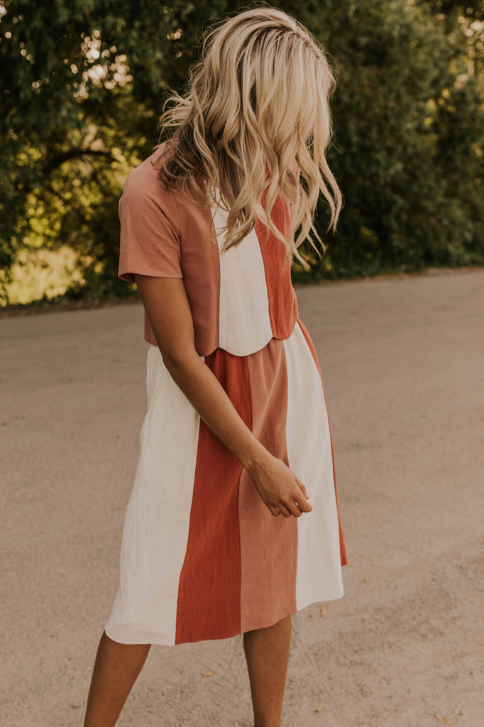 White Red Pink Stripe Dress | ROOLEE