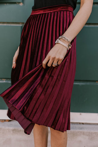Velvet Pleated Skirt | ROOLEE