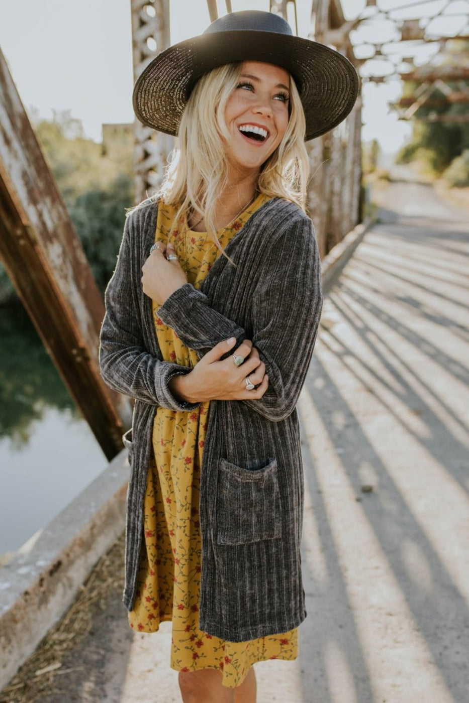 Arabella Knit Cardigan in Charcoal | ROOLEE