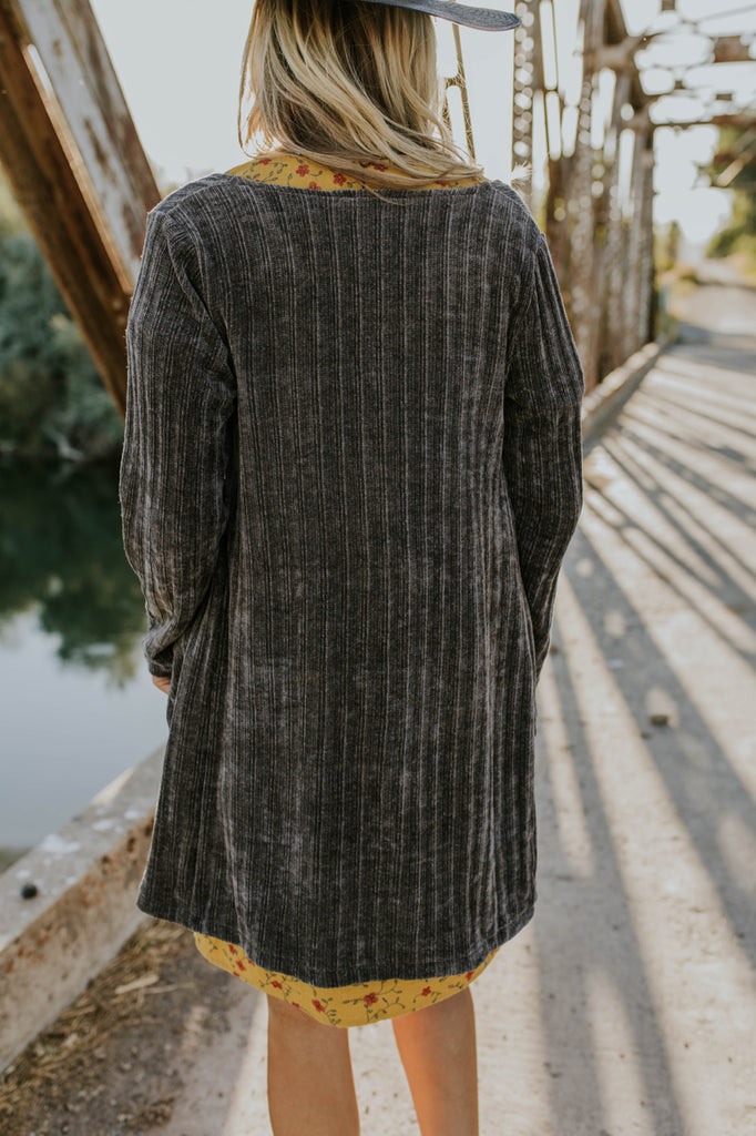Knit Cardigan in Charcoal | ROOLEE