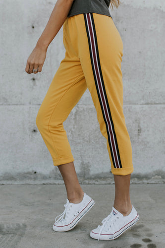First Place Stripe Sweats in Mustard | ROOLEE