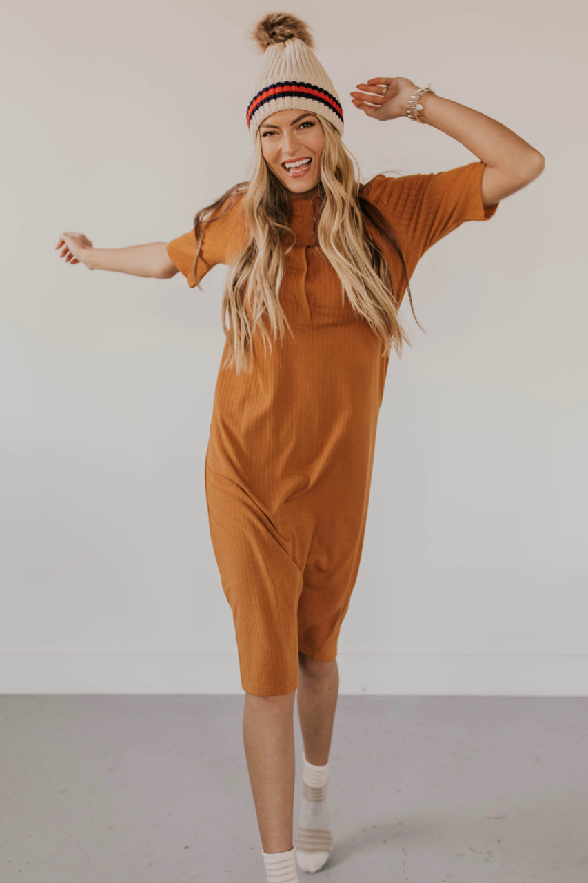 Neverland Button Dress in Camel | ROOLEE