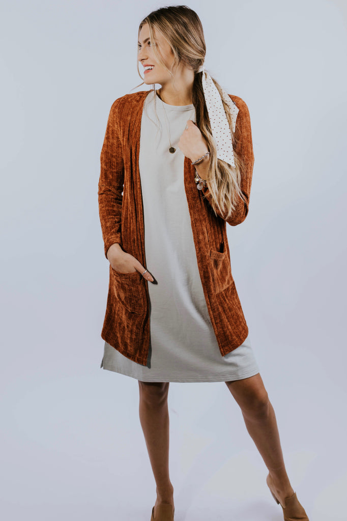 Rust Knit Cardigan Outfit for Fall | ROOLEE