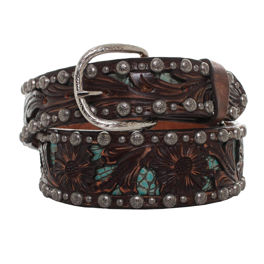 B865 - Brown Vintage Tooled And Gator Inlay Belt