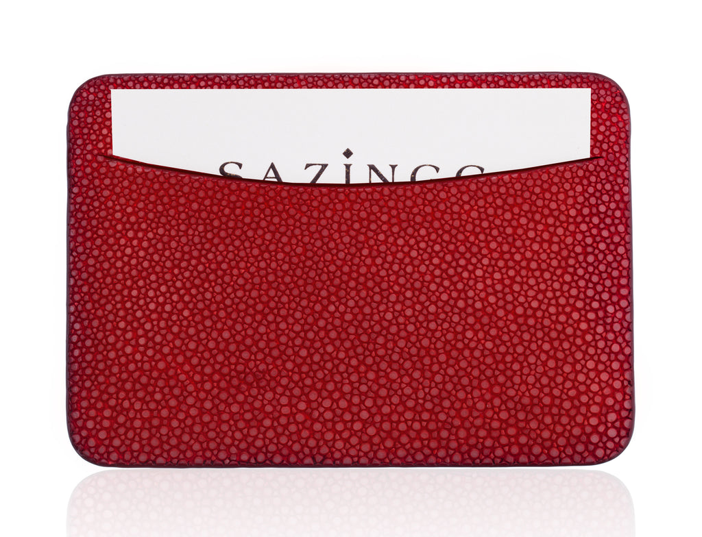 Red Stingray Leather Credit Card Holder