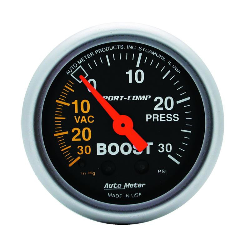 Autometer Sport-Comp 52mm 30 PSI Mechanical Boost Gauge - 3303