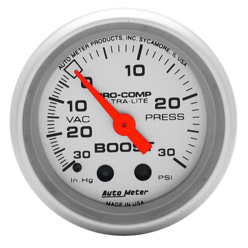 Autometer Ultra-Lite 52mm 30 PSI Mechanical Boost Gauge - 4303