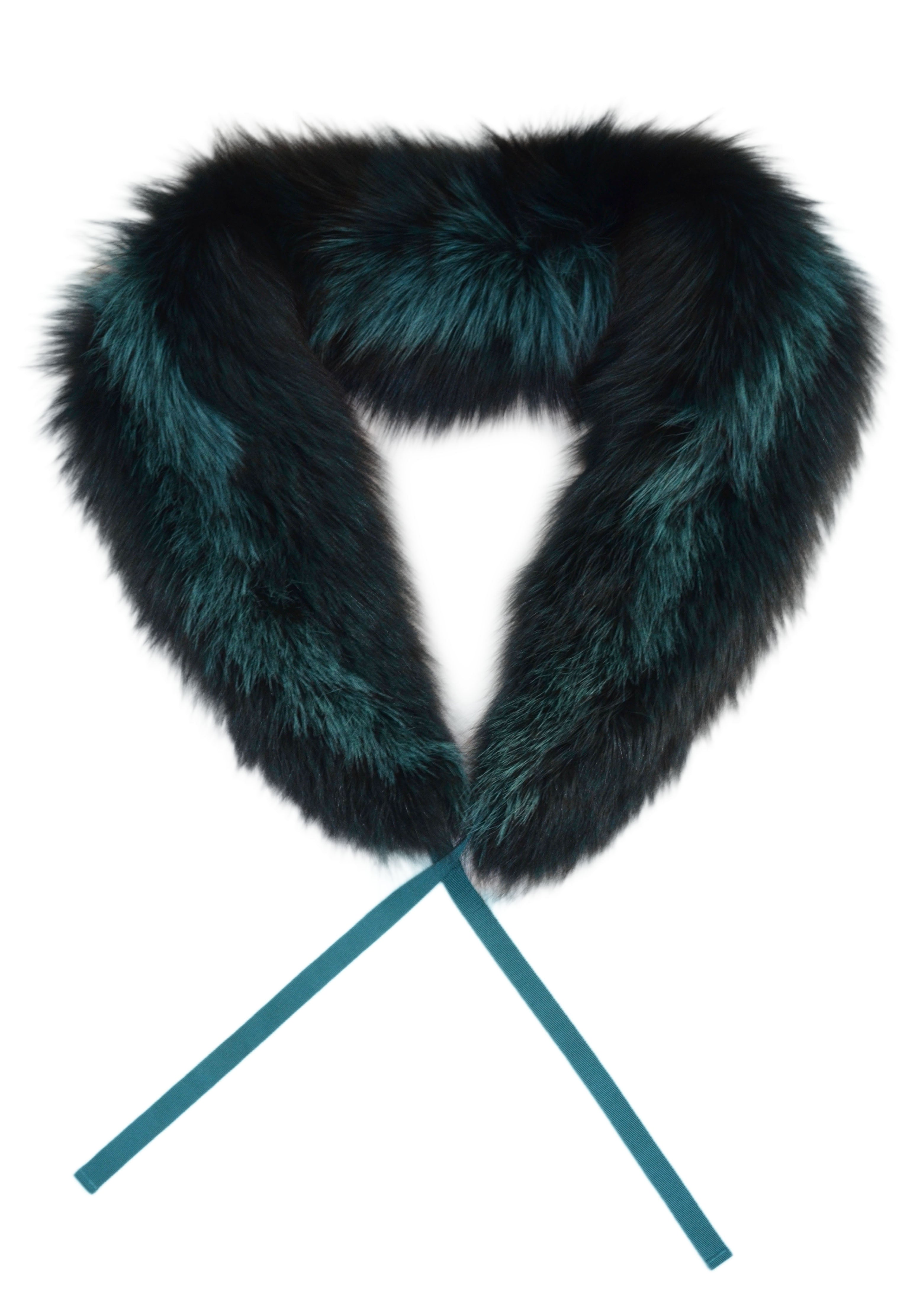 Fox Stripe Collar with Gross Grain, Teal and Black