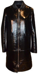 Leather Finish Ironed Merino Trench Coat