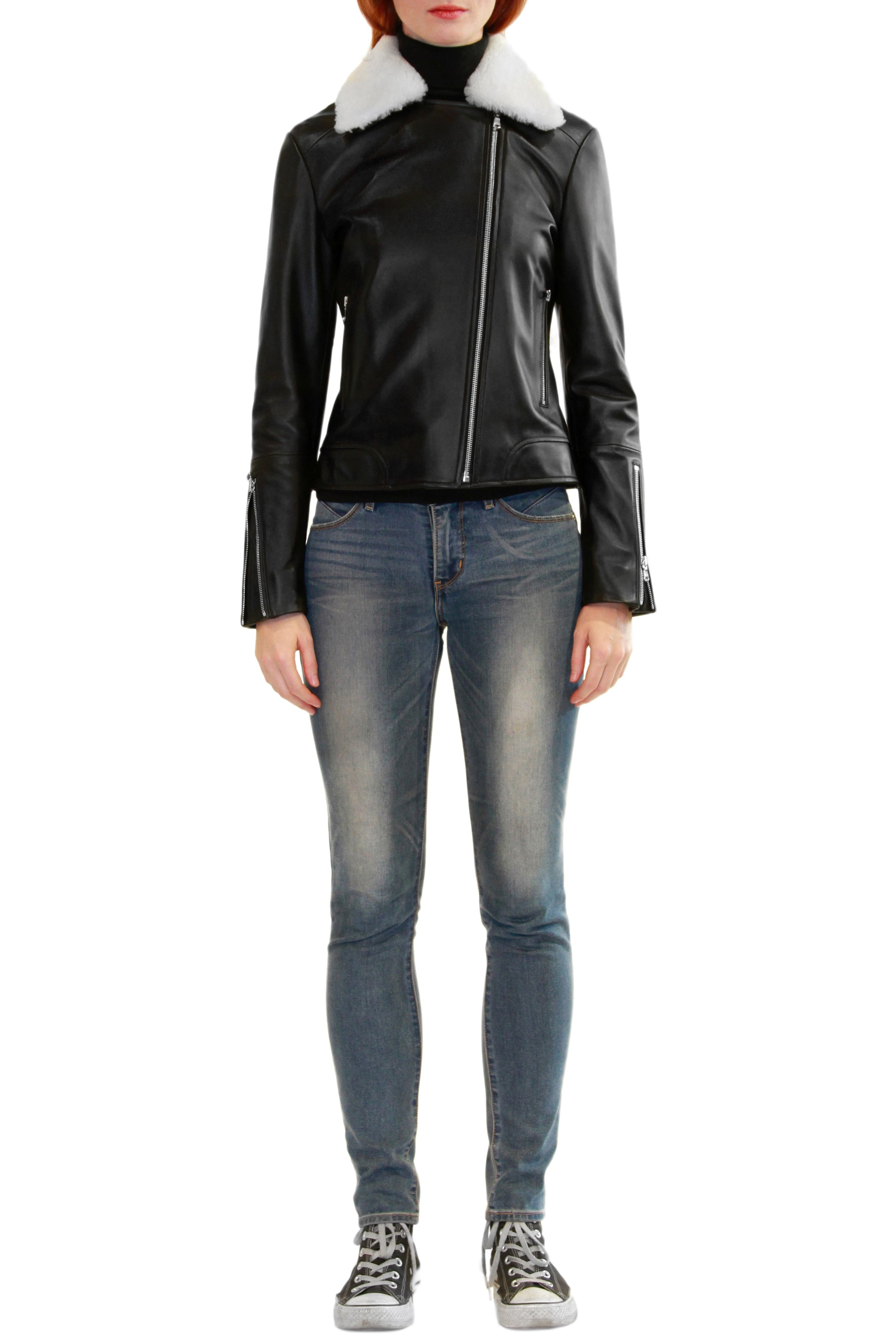 Leather Moto Jacket with Detachable Shearling Collar