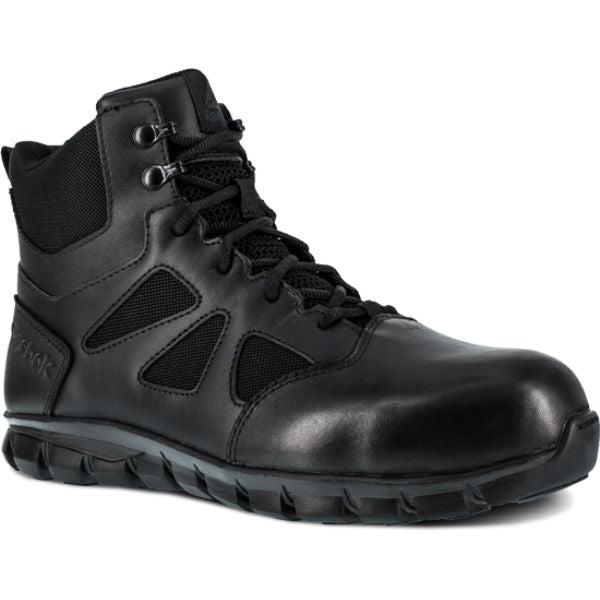 "Reebok RB8606 Men's Sublite Cushion 6"" Composite Toe Tactical Boot with Side Zipper - Black"