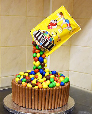 M & M's chocolate anti-gravity chocolate cake - saysurprise