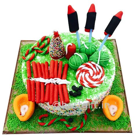Diwali cake with toppers - saysurprise