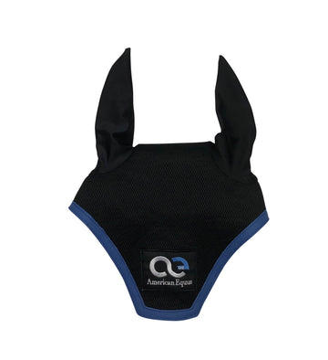front view of American Equus Signature Ear Bonnet in Black/Blue