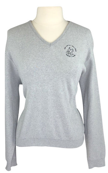 front view of Capital Challenge Horse Show V-Neck Sweater in Light Grey