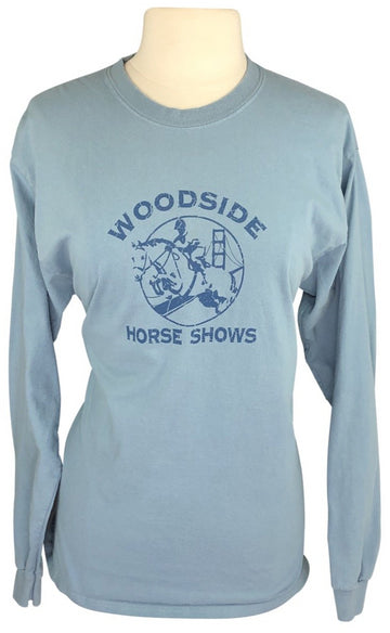 front view of Woodside Horse Shows Long Sleeve Crew Neck in Teal