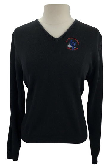 front view Capital Challenge Horse Show V-Neck Sweater in Black