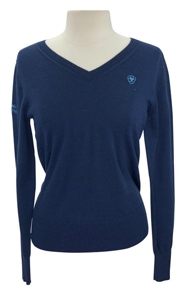front view of Ariat Ramiro 'Sonoma Horse Park' Sweater in Navy/Blue Bird