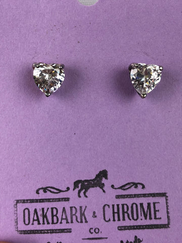 Oakbark and Chrome Crystal Heart Earrings in White - Front View
